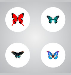 Set of beauty realistic symbols with tailed-blue vector