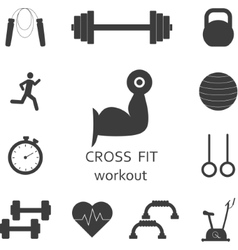 Set of workout icons sport fitness gym vector