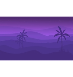 Silhouette of mountain and palm vector image