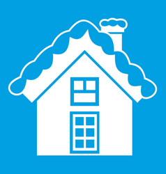 small snowy cottage icon white vector image