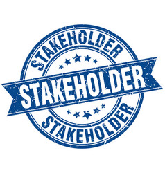 stakeholder round grunge ribbon stamp vector image