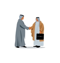 Successful Arabic business people shaking hands vector image