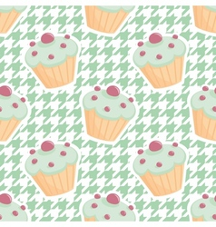 Tile cupcake pattern on mint green houndstooth vector