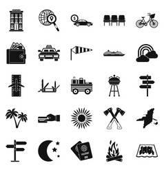 tourist service icons set simple style vector image