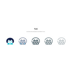 Tux icon in different style two colored and vector