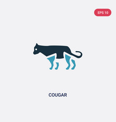 two color cougar icon from animals concept vector image