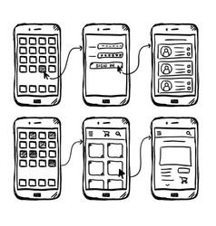 ui mobile app wireframe doodle vector image