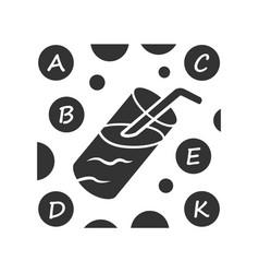Vitamin cocktail glyph icon a b c d e k vitamins vector