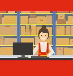 warehouse indoor space with goods on shelf and vector image