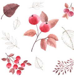 Watercolor seamless pattern background of autumn vector