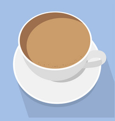 white cup latte coffee on blue background vector image