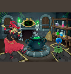 Witch in her own room vector