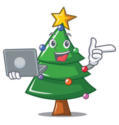 with laptop christmas tree character cartoon vector image