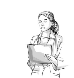 Woman doctor sketch storyboard detailed character vector
