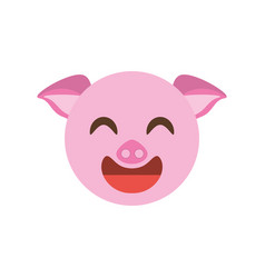 cute face piggy animal cheerful vector image