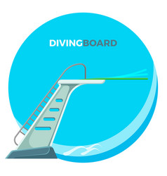 Diving board or springboard used for snorkeling vector