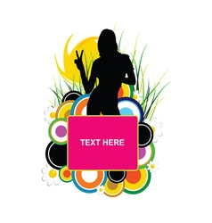 girl silhouette with banner text one vector image vector image
