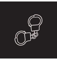 Handcuffs sketch icon vector image vector image