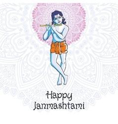 Hindu young god lord krishna happy janmashtami vector