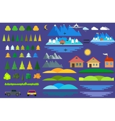 Landscape constructor icons set houses trees and vector image vector image
