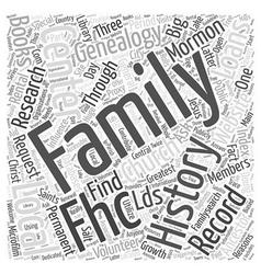 mormon genealogy record Word Cloud Concept vector image vector image