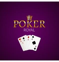 Poker casino poster logo template design Royal vector image vector image