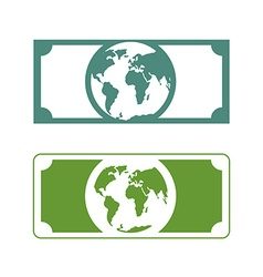 Worlds money Banknotes with planet Earth Future of vector image vector image