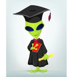Cartoon Graduate Alien vector image vector image