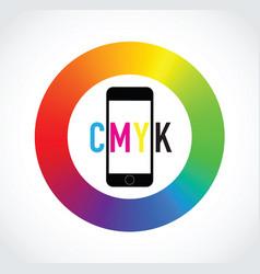 Cmyk mobile phone colour selector vector