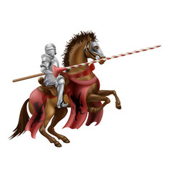 knight with lance on horse vector image vector image