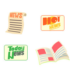 news icon set cartoon style vector image