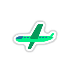paper sticker on white background airplane vector image vector image