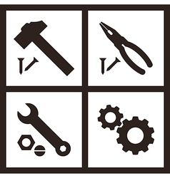 Pliers hammer wrench and gears icons vector image