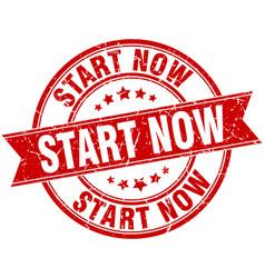 start now round grunge ribbon stamp vector image vector image