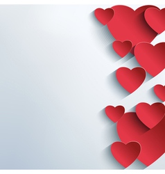 Stylish abstract background with 3d red hearts vector image