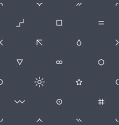 thin flat seamless pattern on dark gray vector image vector image