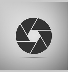 camera shutter flat icon on grey background vector image