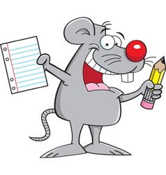 Cartoon Mouse Holding a Paper and Pencil vector image