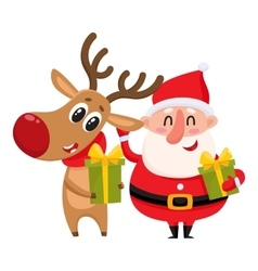 Funny Santa Claus and reindeer holding Christmas vector image