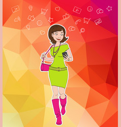 girl looking at notification on mobile phone vector image