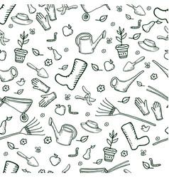 monochrome funny garden seamless pattern dark vector image vector image
