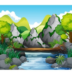 Scene with mountains and river vector image vector image