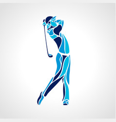 silhouette of golf player in blue colors vector image vector image