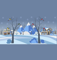 winter snowy landscape with houses trees and vector image