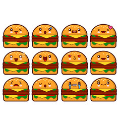emoticon hamburger face on a white background vector image