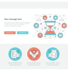 Flat line Social Time Management Concept vector image vector image