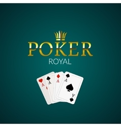 Poker casino poster logo template design Royal vector image vector image