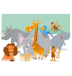 safari animal characters group vector image vector image