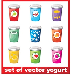 Set Of Yogurt vector image vector image