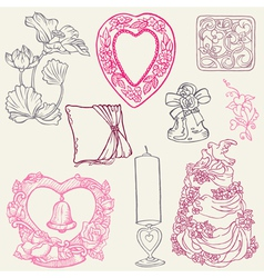 vintage wedding elements vector image vector image